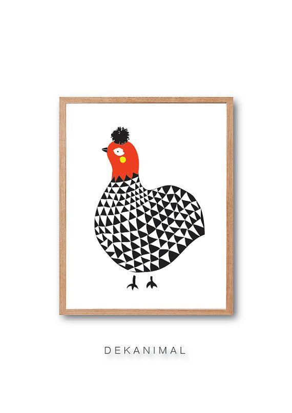 Hen Geometric Art Print, Hen illustration, Hen wall art, Animal Illustration, home decor, Home wall art, Kids art, nursery wall art
