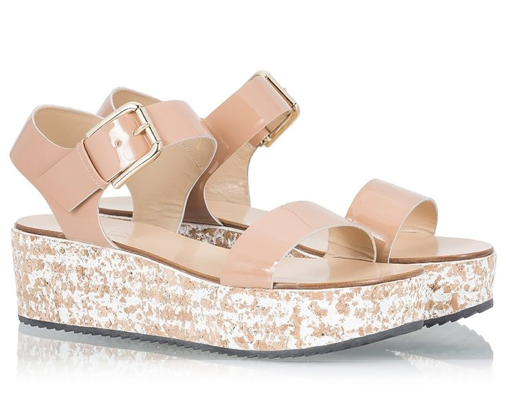 Vicini Nude patent leather flat wedge heel sandals  #ViciniShoes #GiuseppeZanotti #Sandals