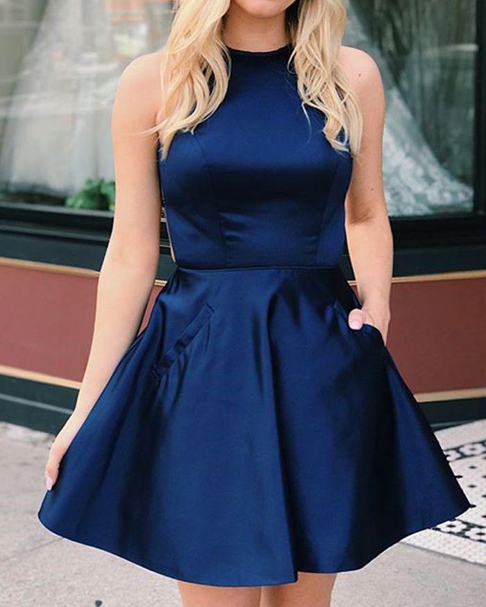 Navy Blue Short Halter Satin Formal Dress With Pockets Hdq3440 Blue Dress Short Simple Prom Dress Short Formal Dresses Short