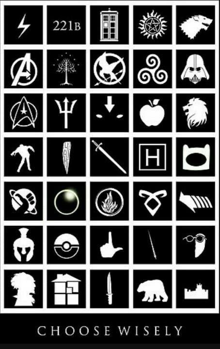 Harry Potter, Sherlock, Doctor Who, Supernatural, Game of Thrones, Marvel, Lord Of the Rings, Hunger Games, Merlin, Star Wars, Star Trek, Percy Jackson, Avatar the Last Airbender, Twilight, Narnia, Walking Dead, Buffy, Legend of the Seeker, House, Adventure Time, Hitchhiker's Guide, Heroes, Divergent, The Mortal Instruments, Back to the Future, Spartacus, Pokemon, Glee, Castle, Watchmen, Series of Unfortunate Events, Homestuck, Lost, His Dark Materials, Downtown Abbey.