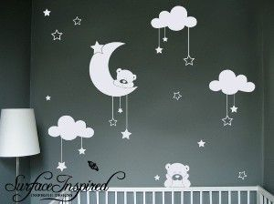 Cudly Bear Wall Decals With Stars and Clouds - Adorable Baby Nursery Wall Decor