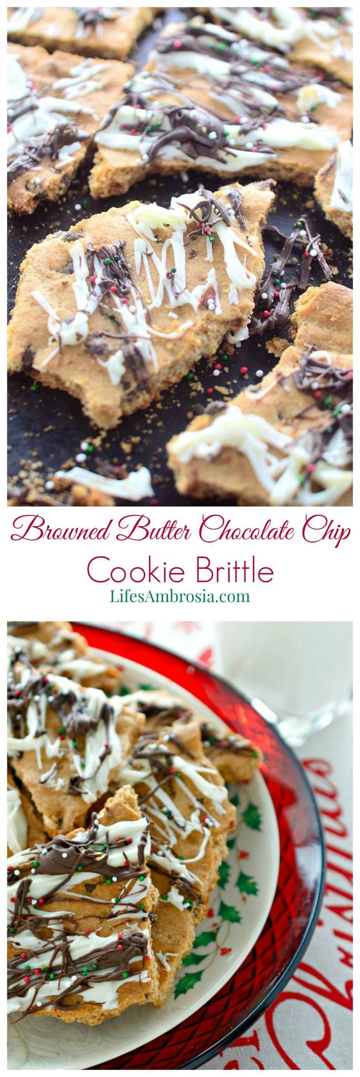 This Browned Butter Chocolate Chip Cookie Brittle is quick, easy and perfect for holiday gifts!: