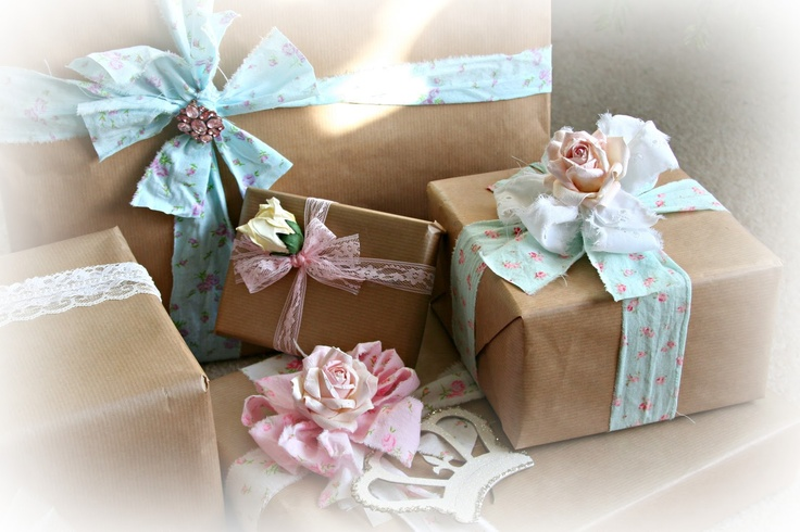 brown paper tied with lace and fabric