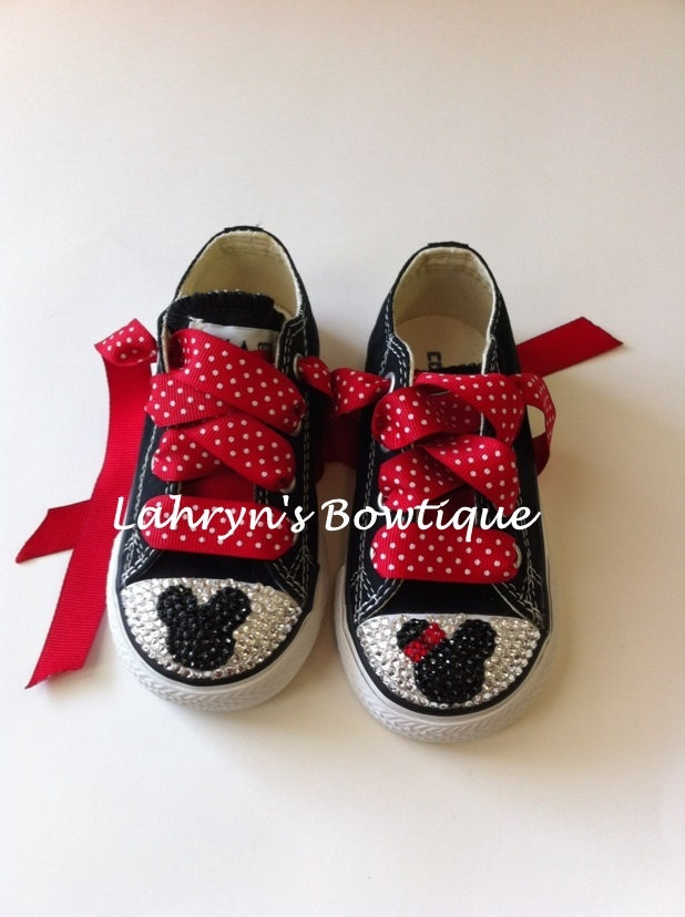Mickey and Minnie bling Converse by LahrynsToetique on Etsy