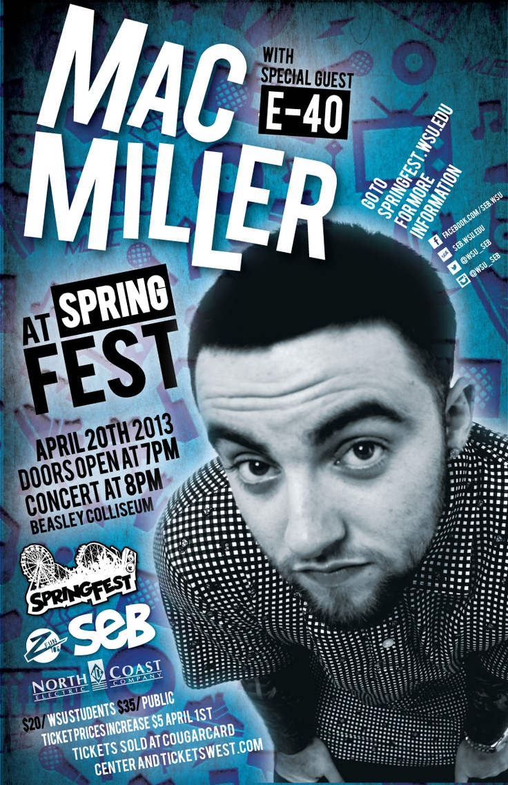 Poster design mac - With Mac Miller And Very Special Guest E Mac Millerspecial Guestposter Designs