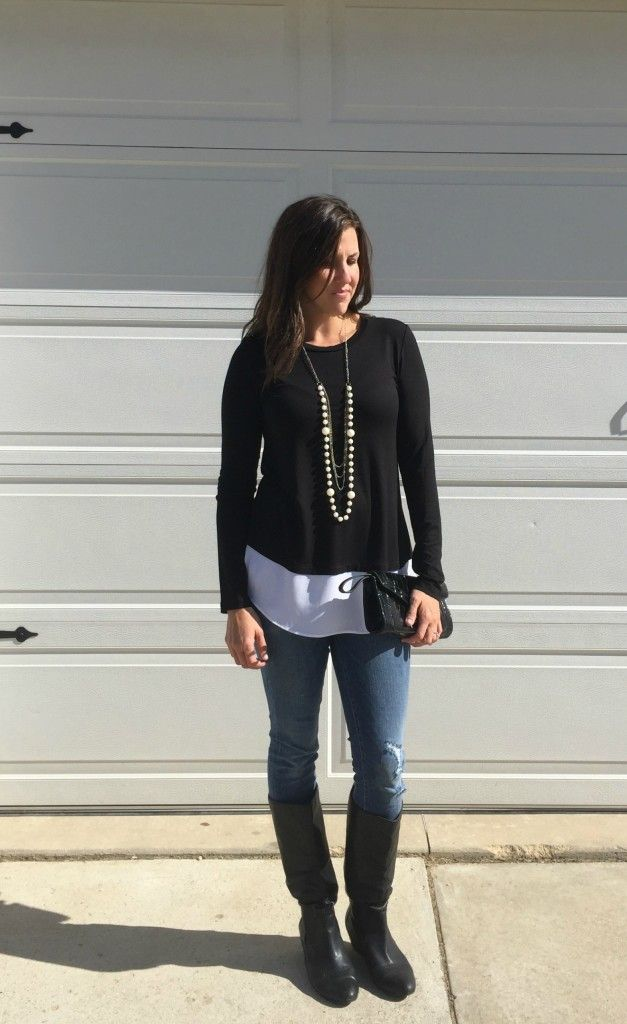 black and white faux layered top outfit idea, pearl necklace outfit, black wedge boots outfit, black and white, fall style, mom style, outfit ideas