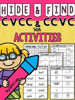 CVCC ~ CCVC~ Hide and Find with Extension ActivitiesCombining Skills ~ thats what helps kids learn!In this product, I have combined reading, spelling, phonics/phonemic awareness, alphabetizing, and comprehension skills.  Included;Booklet Cover and Back (If you want to make it into a booklet)2 Word Searches (1-CVCC and 1-CCVC)1 Sets of CVCC Words for Hiding1 Set of CCVC Words for Hiding2 Recording Sheets to record the hidden words2 Sound Boxes Pages2 Cut and Paste Pages (Don't forget to add b