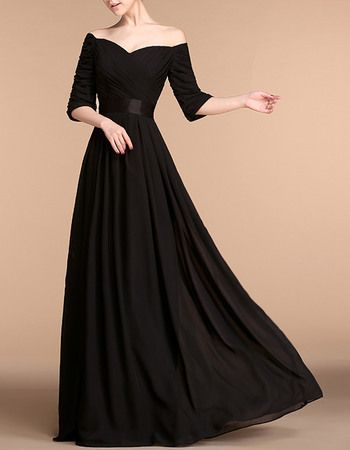 Elegant Off-the-shoulder Rushed Bodice Black Long Chiffon Mother Of The Bride Evening Dresses with Half Sleeves