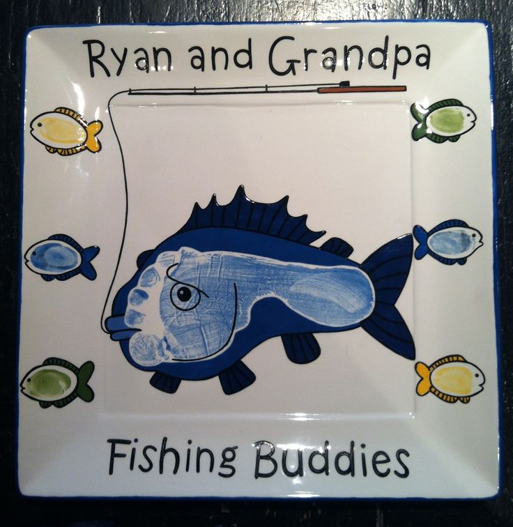 Fishing Footprint Plate | Paint Your Own Pottery | Paint Your Pot | Cary, North Carolina