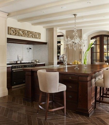 Classic Kitchen With Herringbone Floors