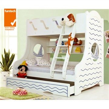 Ocean Trio Bunk with Single Trundle Bed in Ivory White
