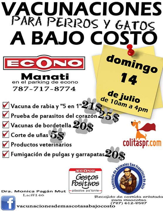 Vacunaciones para Perros y Gatos a Bajo Costo @ Supermercado Econo, Manatí #sondeaquipr #vacunacionesabajocosto #supermercadoecono #manati #perros #gatos