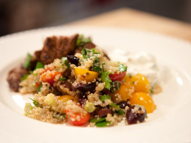 Greek Quinoa Salad from FoodNetwork.com....Bobby Flay recipe. Sub Sea Salt for Kosher salt and delete the Feta....great for FMD Phase 3.: Food Network, Quinoa Recipe, Bobby Flay, Side Dishes, Salad Recipes, Bobbyflay, Healthy Eating, Gluten Free, Greek Quinoa Salad