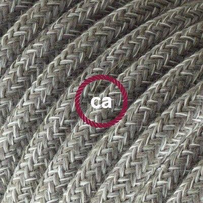 Cavo Elettrico rotondo rivestito in Lino Naturale Grigio RN02