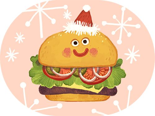 Illustrated by Olga Demidova. Yummy Crowd iMessage Sticker App Christmas logo. (available on the App Store). #ArtofOlgaDemidova #SmallCrowd #YummyCrowd #stickers #iMessage #app #ios #yummy #food #burger #ketchup #coffee #sausage #peanut #egg #children #illustration #art #style #smile #fun #funny #bestoftheday #startup #iphone #ipad
