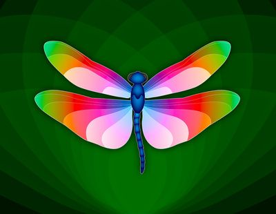 Paper Craft Dragonfly Print - Brilliantly colored dragonfly with open wings against a green leaf pattern background