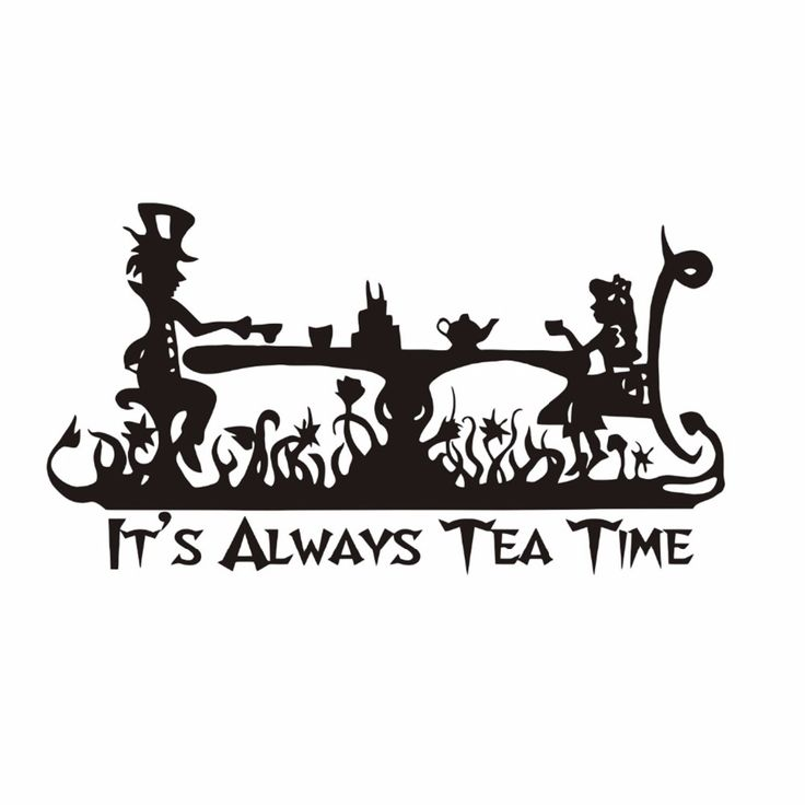 Art Quotes It Is Always Tea Time Wall Decal Kids Room Decor Alice In Wonderland Wall Mural Mad Hatter Tea Party Wallpaper