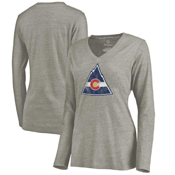 CO Rockies Women's Throwback Logo 1976-1977 Tri-Blend Long Sleeve T-Shirt - Ash