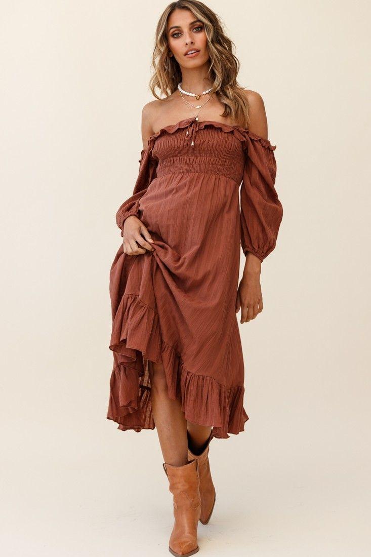 Flynn Off Shoulder Shirred Bust Midi Dress Tan Midi Dress Off Shoulder Fashion Shop Maxi Dresses [ 1100 x 733 Pixel ]