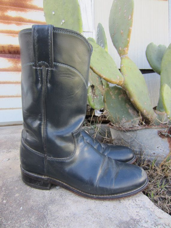 80s Justin Blue Cowgirl Roper Boots, US 5,5 B EUR 36 UK 3,5 // Vintage Blue Leather Cowboy Boots // Western Boots