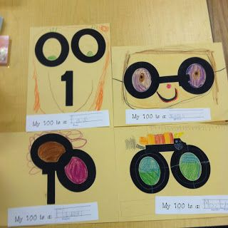 **Wolfelicious**: 100th Day of School Activities. Give 2 zeros and a one cut out in black paper. Create a picture with the numbers; anything they want.