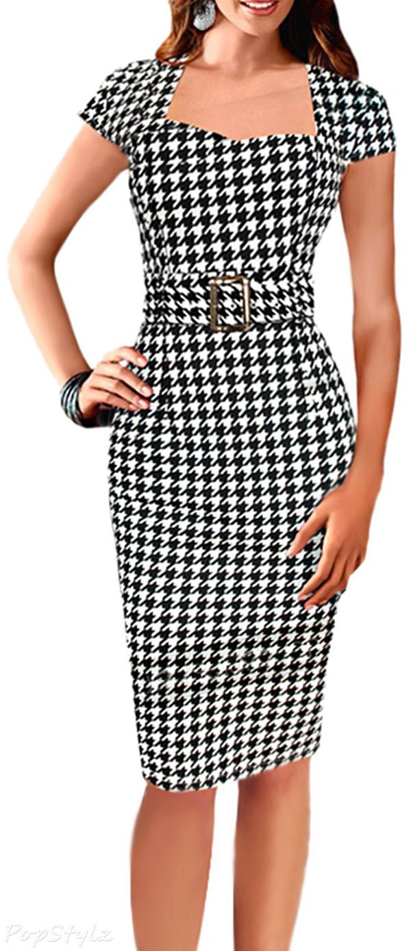 Viwenni Vintage Belted Tartan Check Bodycon Pencil Dress