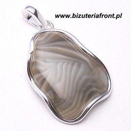 Wisiorek ze srebra z krzemieniem pasiastym