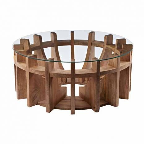 Contemporary Natural Mango Wood Sundial Coffee Table with Glass Top