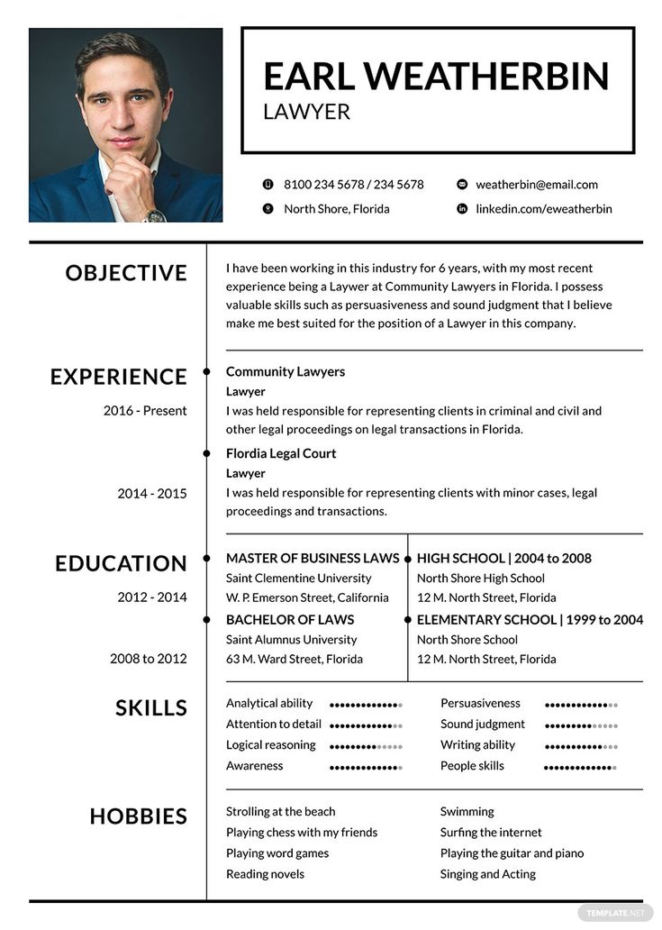 instantly download free basic lawyer resume template