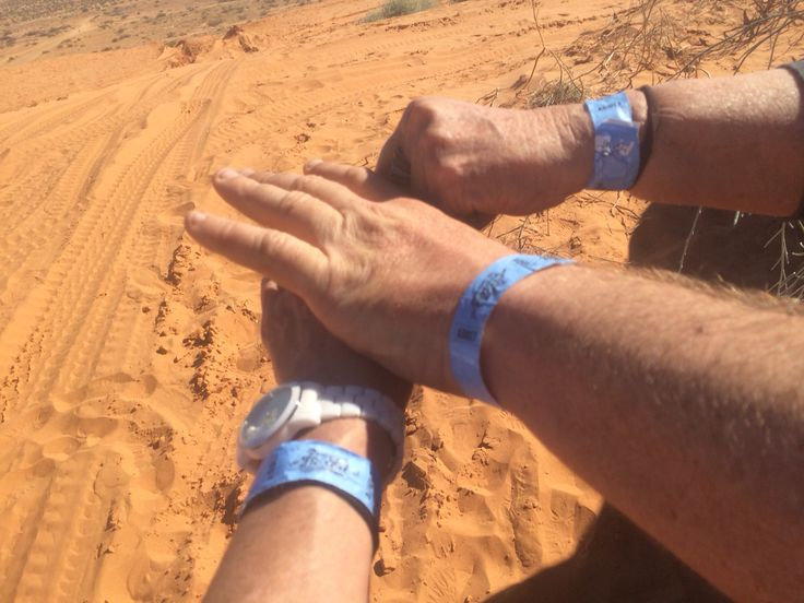 Arm bands on for the Big Red Bash Concert 2015