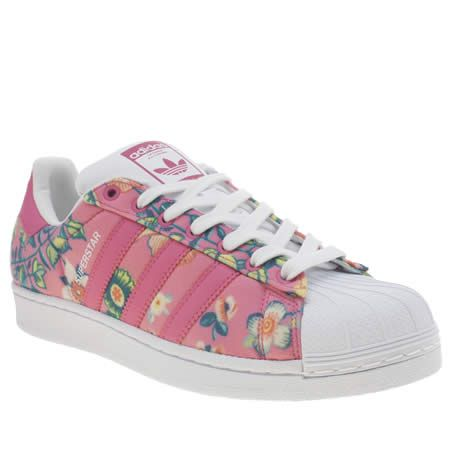la moitié 70314 340c7 Rich Color Adidas Superstar 2 Trainers Leather Floral Fushia ...