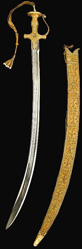 Indian talwar 1935, made for the silver jubilee of Osman Ali Khan, Asf Jah, the seventh Nizam of Hyderabad (at the time the richest man in the world.
