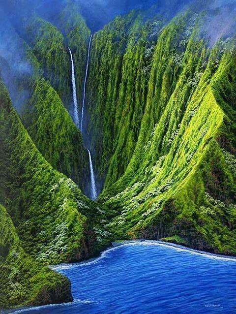 KAHIWA FALLS, a tiered waterfall in Hawaii located on the northern shore of Molokai between the Wailau and Papalaua valleys. The best way to experience the dramatic beauty of Kahiwa Falls, 2165 feet tall with a 1749ft drop, formed over the highest sea cliffs in the world, is by helicopter tour.