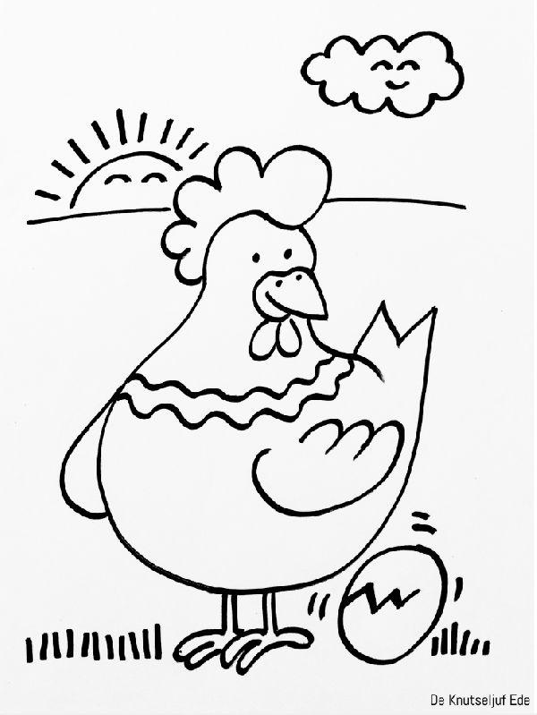 kippen kleurplaten kippen kippetjes kuikens kleurplaat