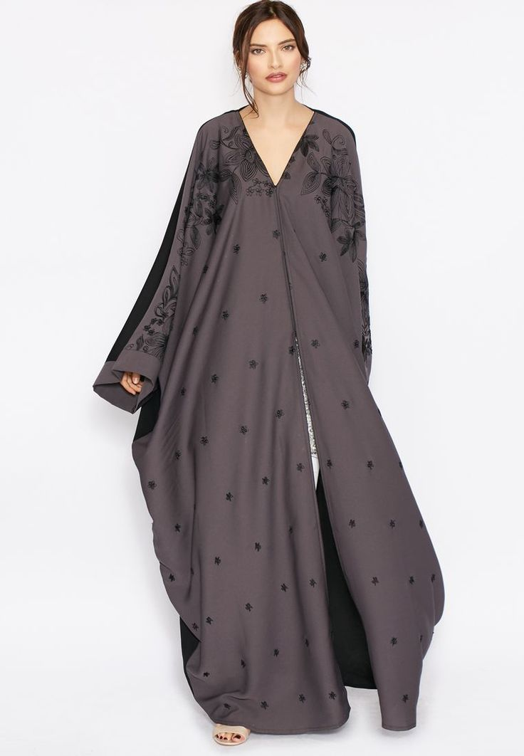 Shop grey Detailed Work Abaya from Hayas Closet grey at Namshi.com - Women  in Saudi