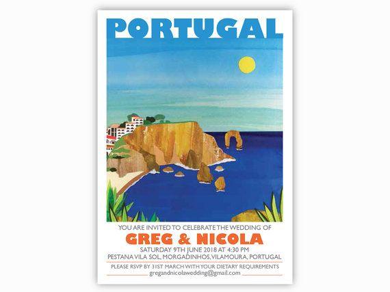 Algarve, Portugal Destination Invites - Single sided with envelopes. Mediterranean wedding invitations, beaches, resorts, coast, sea