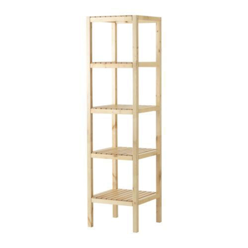 IKEA - MOLGER, Shelf unit, birch. Paint dark color. Add baskets to bottom two shelves for enclosed storage.