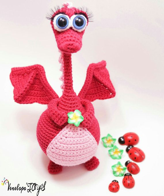 Amigurumi crochet pattern crochet dragon pattern von VenelopaTOYS