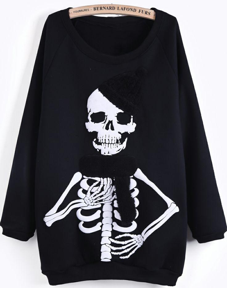 Sudadera Cráneo manga larga-Negro EUR€24.49