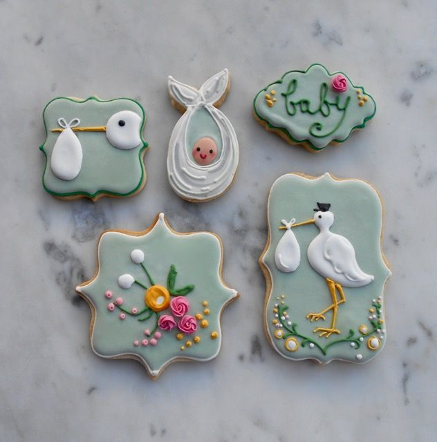Pale Green Stork and Baby Biscuits by Eat My Cake London.
