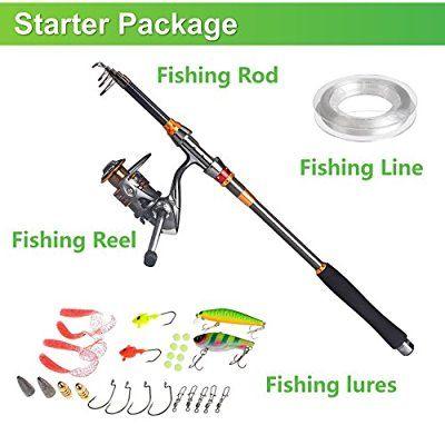 PLUSINNO® Travel Spinning Fishing Rod Combos Carbon Telescopic Fishing Rod Pole with Reel Combo Sea Saltwater Freshwater Kit Fishing Rod Kit (2.4M 7.87Ft)