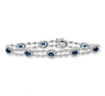 14k White Gold Oval Blue Sapphire Carat Diamond Tennis Bracelet $3,575.00