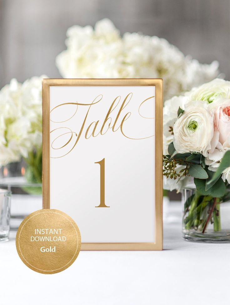 Editable PDF Table Sign 4x6 Table Numbers sign INSTANT DOWNLOAD Wedding Ceremony Numbers Sign Table Number Seating Card Gold #DP230_97