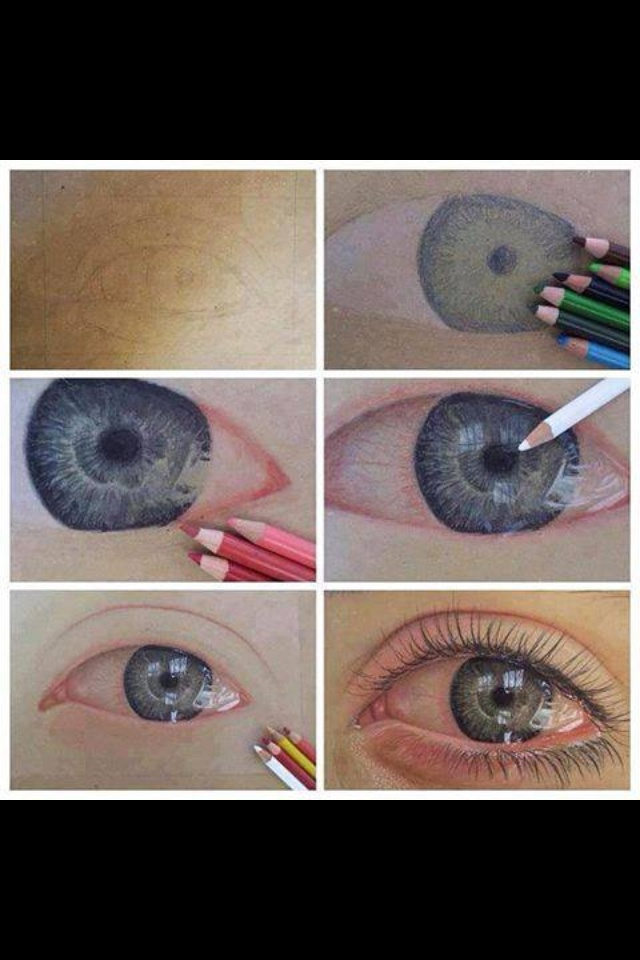 How 2 draw a realistic eye step by step | Colored Pencil ...