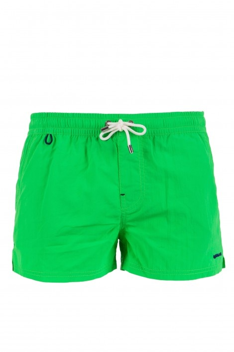 PAUL BW - beachwear - Man - Gas Jeans - Bathing trunks short boxers, waist sash, side slits on the bottom, side pockets and one back pocket with velcro, embroidered logo. Colour: green