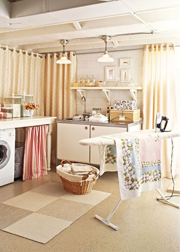 curtains on unfinished basement walls - cozier space for laundry!