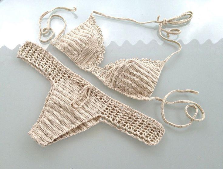 Beige Crochet Bikini , Bikini , Women Swimwear ,  Swimsuit , Bikini Bride Swimsuits,  Beachwear Summer Brazilian Bikini senoAccessory by senoAccessory on Etsy https://www.etsy.com/listing/204369944/beige-crochet-bikini-bikini-women