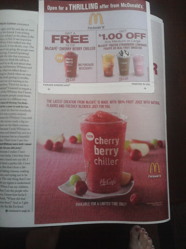 McDONALD'S $$ Coupon for FREE McCafe Cherry Berry Chiller!