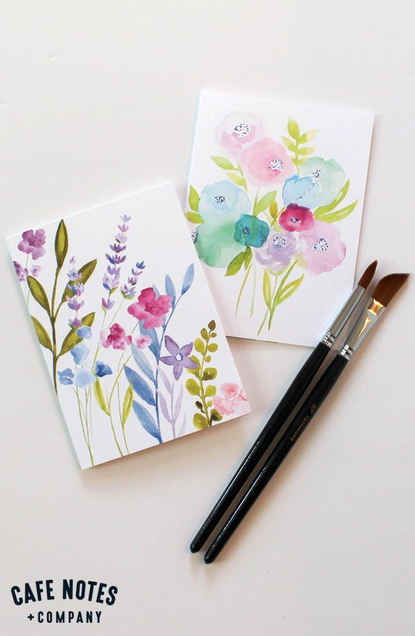 Spring Flower Bouquet Blank Greeting Card Hand Painted Watercolor Loose Flower Bouquet Card Cafe Notes Company Watercolor Birthday Cards Watercolor Flowers Card Watercolor Greeting Cards