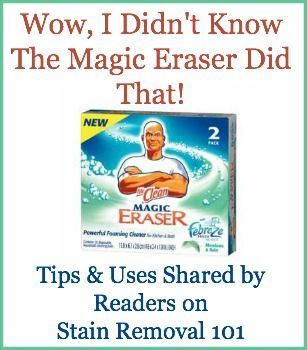 Mr. Clean Magic Eraser uses around your home for cleaning all kinds of things {on Stain Removal 101}
